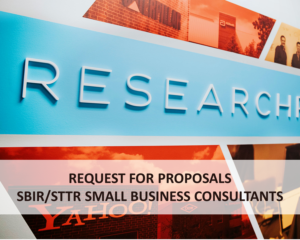 Image with text - Request for Proposals, SBIR/STTR Small Business Consultants
